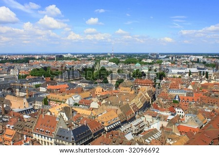 Aerial view of Strasbourg roofs, serial