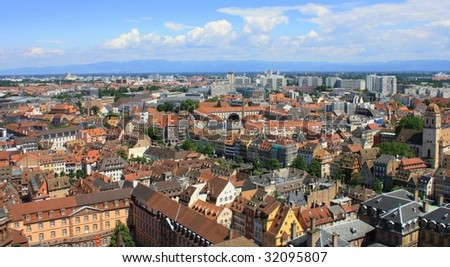 Aerial view of Strasbourg, serial shot - stock photo