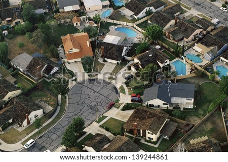Aerial view of suburban cul-de-sac in Orange County, California - stock photo