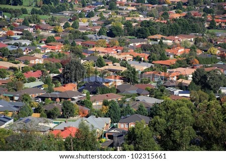 Aerial view of suburban houses in Melbourne, Australia - stock photo