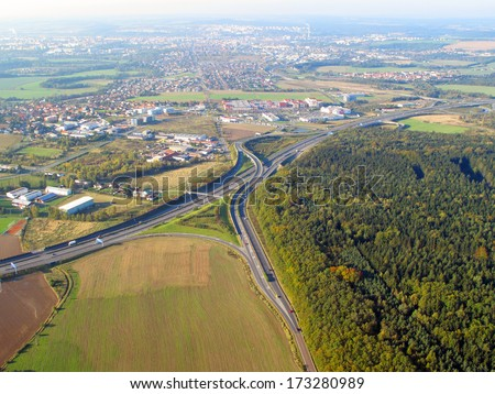 Aerial view of suburban landscape near city Pilsen, Czech republic, Eu.  - stock photo