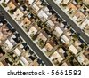 Aerial view of suburban neighborhood urban sprawl in Las Vegas, Nevada. - stock photo