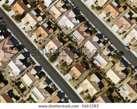 Aerial view of suburban neighborhood urban sprawl in Las Vegas, Nevada. - stock photo