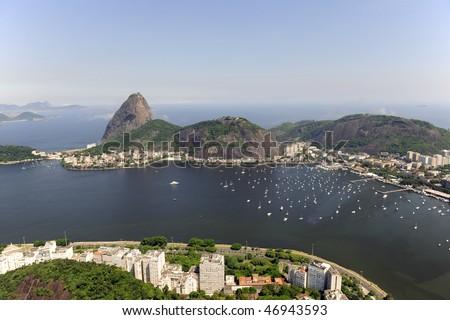 Aerial view of Sugarloaf Mountain in Rio de Janeiro - stock photo