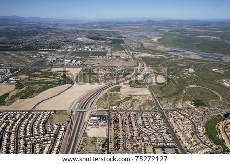 Aerial view of sunny east Mesa, Arizona - stock photo