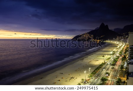Aerial view of Sunset on Ipanema Beach in Rio de Janeiro, Brazil - stock photo