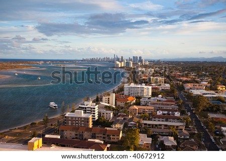 Aerial view of sunset over the  Gold Coast shoreline - stock photo
