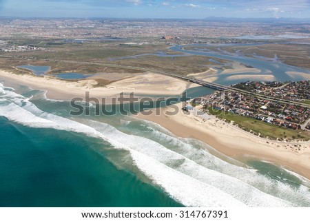 Aerial view of Swartkops River mouth and estuary in South Africa