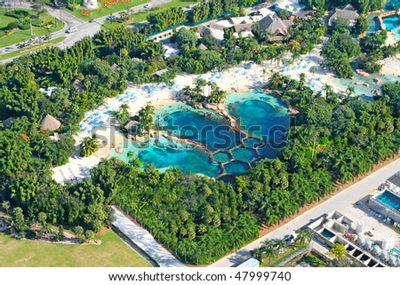 aerial view of swimming pool - stock photo
