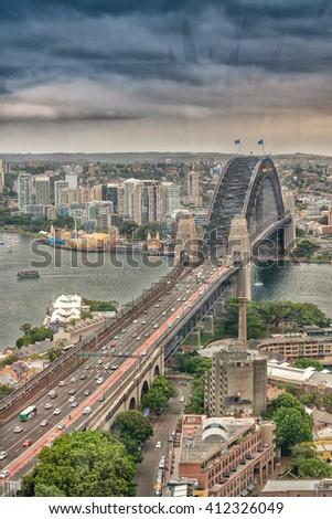 Aerial view of Sydney Harbour Bridge. - stock photo