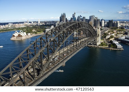 Aerial view of Sydney Harbour Bridge in Australia. Horizontal shot. - stock photo