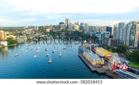 Aerial view of Sydney Skyline, New South Wales, Australia. - stock photo