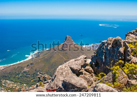 Aerial view of Table Mountain, Cape Town, South Africa - stock photo