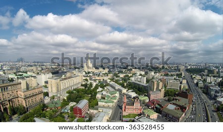 Aerial view of Tagansky district in Moscow, Russia