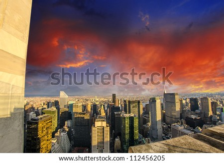 Aerial view of Tall Skyscrapers with dramatic sky - Manhattan