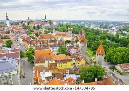 Aerial view of Tallinn, Estonia - stock photo