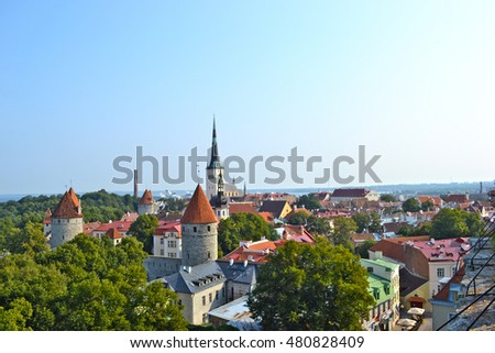 Aerial View of Tallinn Old Town from Toompea Hill in the Day, Tallinn, Estonia
