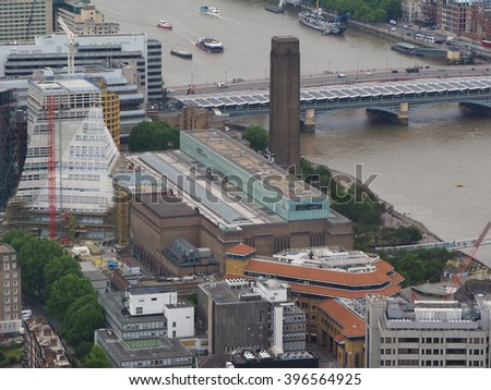 Aerial view of Tate Modern art gallery in London, UK - stock photo