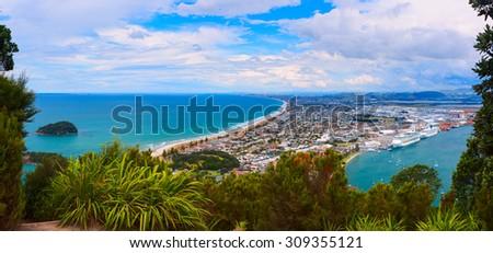 Aerial view of Tauranga town from the Mount Maunganui. Tauranga, New Zealand. - stock photo