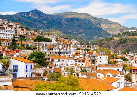 Aerial view of Taxco, Mexico. The town is known because of its Silver products