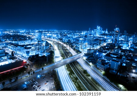 Aerial  View Of Tel Aviv At Night - Tel Aviv Cityscape - stock photo