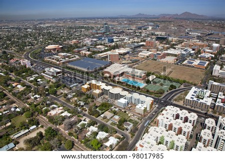 Aerial view of Tempe, Arizona with downtown and campus - stock photo