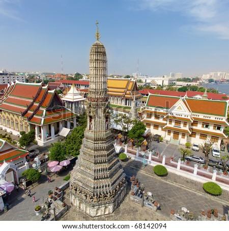 Aerial view of Temple of the Dawn (Wat Arun), Bangkok, Thailand - stock photo