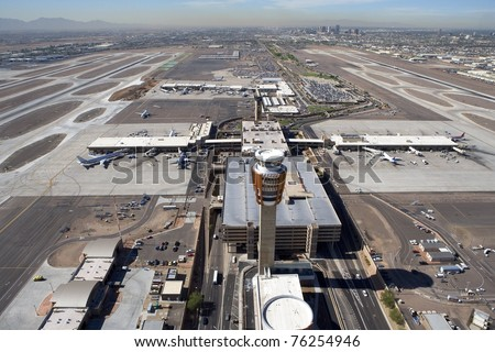 Aerial view of terminals and tower at Sky Harbor Airport, Phoenix, Arizona