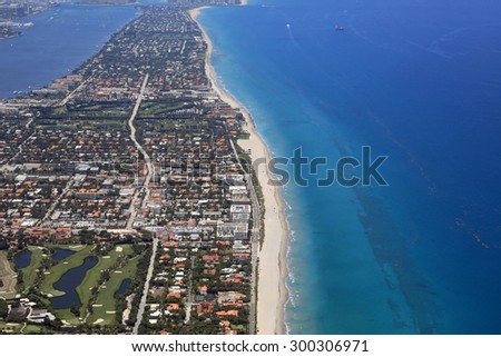 Aerial view of the affluent island of Palm Beach, Florida