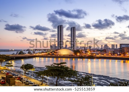 Aerial view of the architecture of Recife in Pernambuco, Brazil at sunset.