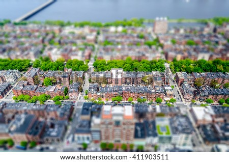 Aerial View of the Back Bay district and Charles River, Boston, USA. Tilt-shift effect applied - stock photo