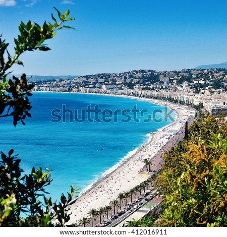 aerial view of the Baie des Agnes bay in Nice, France, and the Promenade des Anglais bordering the Mediterranean Sea