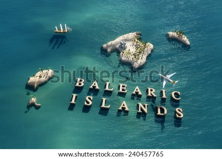 Aerial view of the Balearic Islands in Spain - stock photo