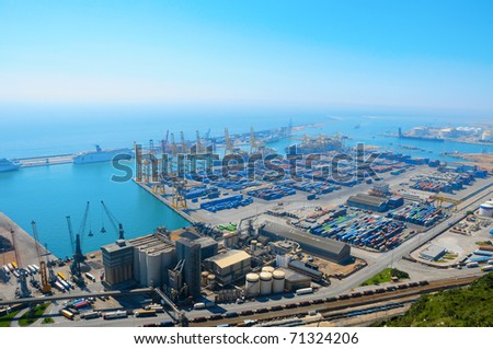 Aerial view of the Barcelona port, in Spain - stock photo