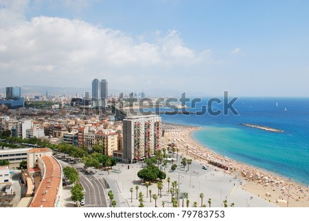 Aerial view of the Barceloneta beach from the cable car (Barcelona - Spain) - stock photo