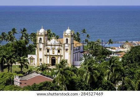 Aerial view of the Baroque architecture of Igreja do Carmo Church in Olinda, Pernambuco, Brazil. - stock photo