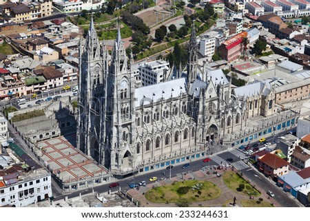 Aerial view of the Basilica del Voto Nacional in Quito - stock photo