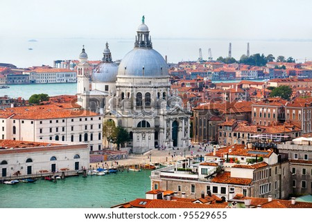 Aerial view of the Basilica of Santa Maria della Salute in center of Venice, Italy - stock photo