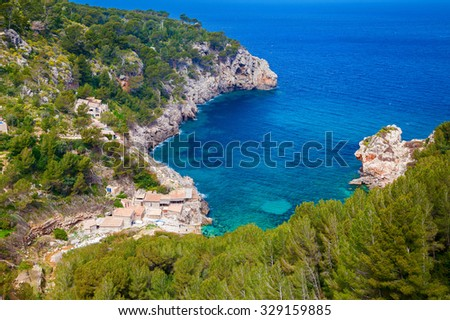aerial view of the beach Cala de Deia, Mallorca, Spain - stock photo