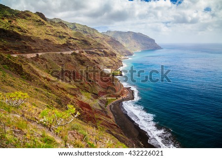 aerial view of the beach Playa de las Gaviotas and north-east coast in Tenerife, Canary Islands, Spain - stock photo