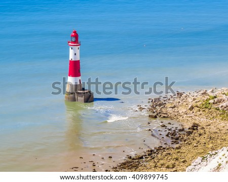 Aerial view of the Beachy Head Lighthouse, Eastbourne, East Sussex, England - stock photo
