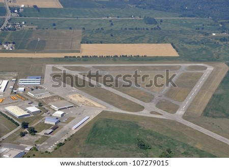 aerial view of the Brantford Municipal Airport during the 2012 Taxiway construction; Brantford Ontario Canada - stock photo