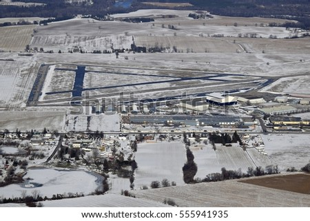 aerial view of the Brantford Municipal Airport in Mount Hope, Ontario Canada Winter scene