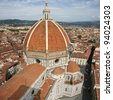 Aerial view of the Brunelleschi's Dome of the Santa Maria del Fiore Cathedral, Florence, Italy. - stock photo