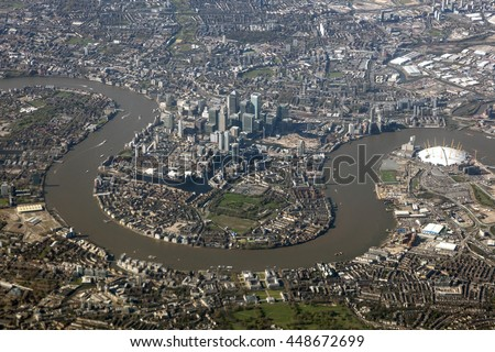 Aerial view of the Canary Wharf district in the city of London, United Kingdom - stock photo