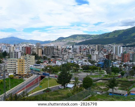 Aerial view of the capital city of Quito, Ecuador in South America - stock photo