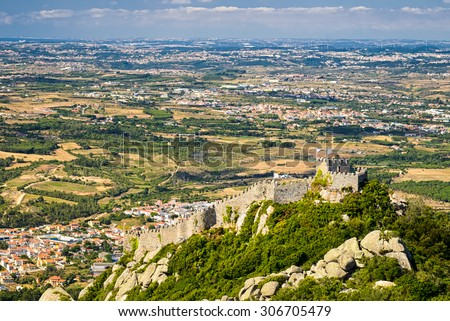 Aerial view of the Castle of Moors in Sintra, Portugal - stock photo
