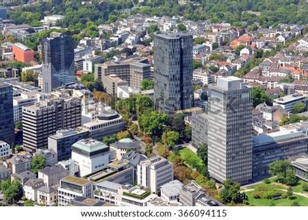 Aerial view of the central business district of Frankfurt am Main, Germany, from the observatory deck of the Mainn tower. Frankfurt is the largest financial center in continental Europe. - stock photo