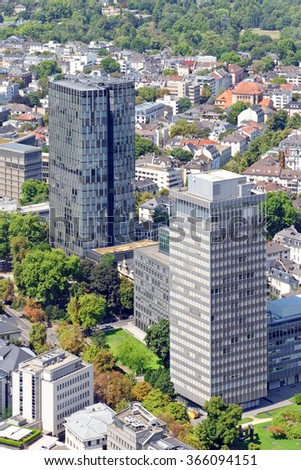 Aerial view of the central business district of Frankfurt am Main, Germany, from the observatory deck of the Main tower. Frankfurt is the largest financial center in continental Europe. - stock photo