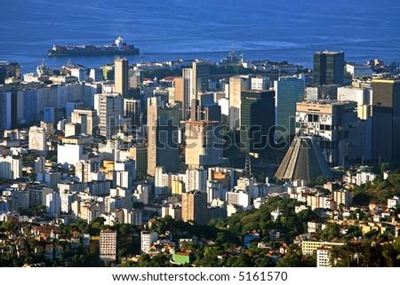 aerial view of the centro the center of the city of rio de janeiro brazil - stock photo